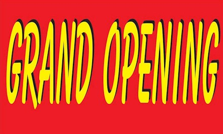Red and Yellow Grand Opening Banner