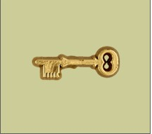Gold Plastic Skeleton Key Lapel Pin