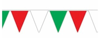 Red White and Green Jumbo Pennant - 30ft. section