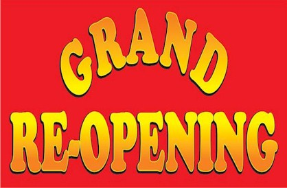 Red and Yellow Fade Grand Re-Opening Banner