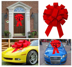 Supersized Circular 3-D Red Velvet Car or Building Bow