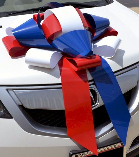 Patriotic Red White Blue Giant Car Bow Magnetic