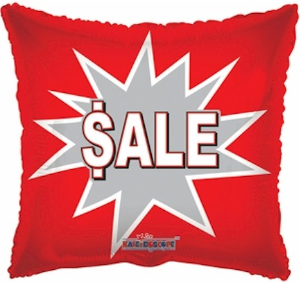 Sale Square Shape Mylar Balloon - Red and White with Silver Starburst