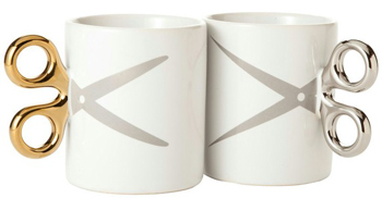 Coffee Mugs with Scissors Handles for Beauticians, Barbers, Seamstress