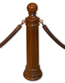 Natural Finish Hotel or Museum Ornate Signature Stanchion