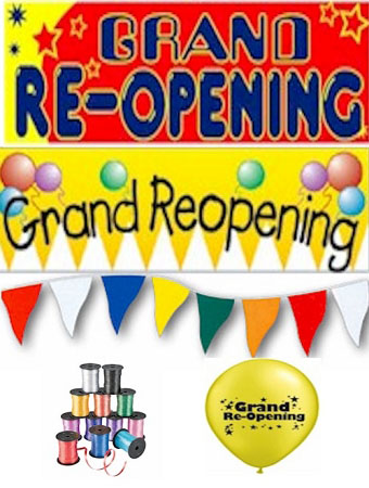Grand Re-Opening Balloon and Banner Kit