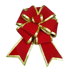 10 Foot Giant Red Bow with Gold Trim