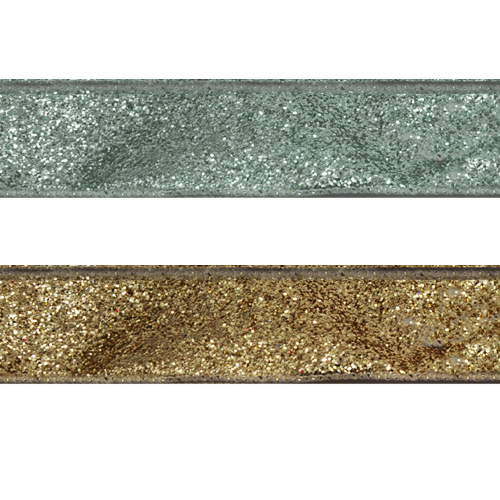 4 Inch Wired Edge Glitter Gold/Silver Ribbon