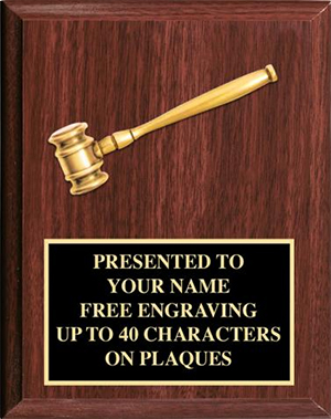 8 x 10 Gold Gavel Award Plaque