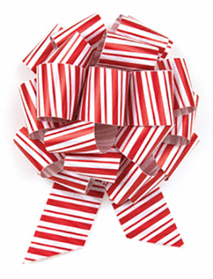 5 Inch Candy Cane Pull Bow