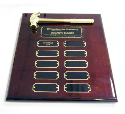 Piano Wood With Gold Hammer Award Plaque
