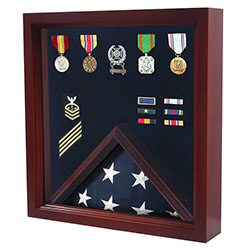 Luxurious Cherry Wood Flag and Medal Display Case