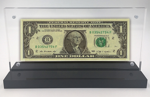 Acrylic Framed First Dollar Desk Display