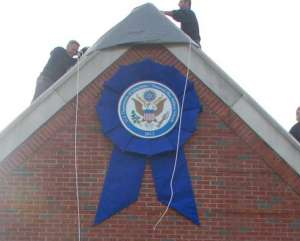 Giant National Blue Ribbon with Presidential Rosette Ribbon/Bow