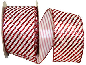 Sparkle Candy Cane Wired Edge Ribbon