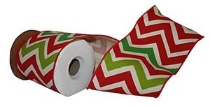Holiday Cotton Wired Edge Chevron Ribbon