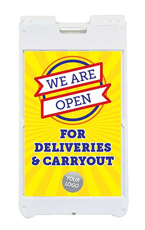 Open For Deliveries and Carryout A Frame Sign