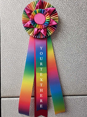 Rainbow Dye Custom Rosette Ribbon