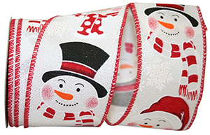 Scarfed Snowmen Wired Edge Ribbon