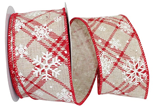 Snowflake Covered Red/White Lattice Plaid Ribbon