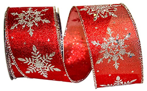 Snowflake Sparkle Wired Edge Ribbon