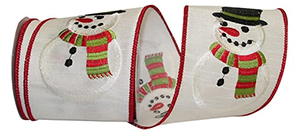 Snowman Stitched Wired Edge Ribbon