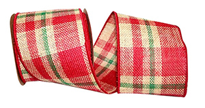 Tartan Plaid Wired Edge Burlap Ribbon