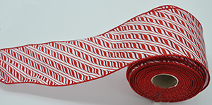 Candy Cane Wired Edge Christmas Ribbon