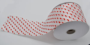 White Diagonal Candy Cane Ribbon