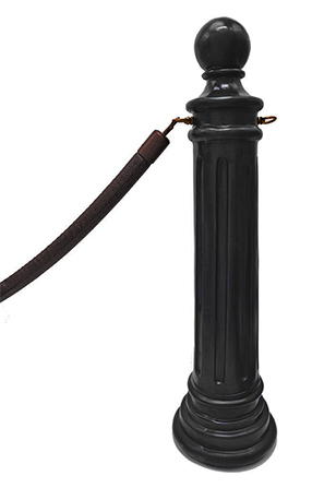 Black 40 inch Stanchion Post with Ball Top and Base Rope Style Queue Pole