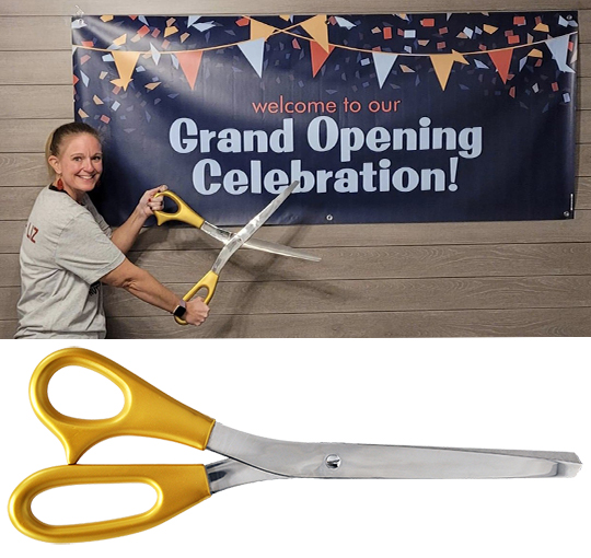 Giant 25 inch Matte Metallic Gold Scissors with Mirrored Blade