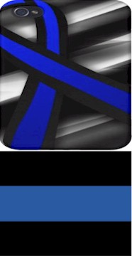 Police Officer Horizontal Blue Stripe Awareness Wide Ribbon