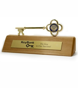 Piano Finish Wood Base with Gold Key