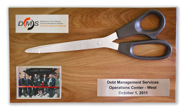 Custom Commemorative Giant Scissors Plaque
