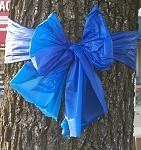 4 inch wide Plastic Weatherpoof Thin Blue Line Police Awareness Ribbon / Bows
