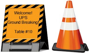 Construction Ground Breaking Barricade or Traffic Cone 3-D Centerpiece