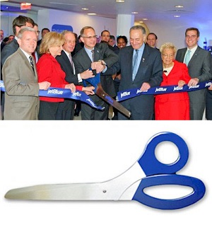 3 Foot Ceremonial Scissors - Royal Blue Handles