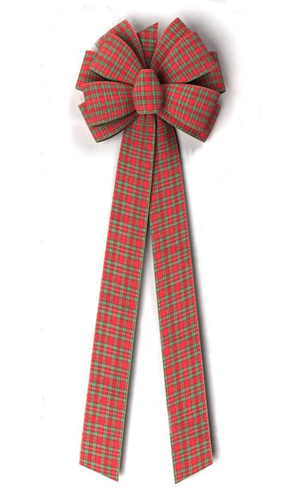 4 Inch Wired  Ribbon Tartan Plaid Bow