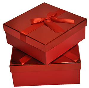 Shiny Square Red Gift Boxes with Lid and Bow Nested Set of 2