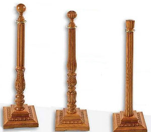 Exquisite Square Egg and Dart Base Stanchions