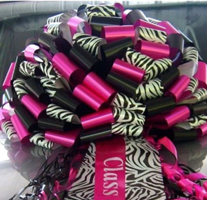 Zebra Print Giant Car Bows