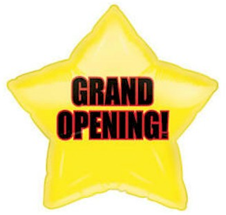 Grand Opening Star 20 inch Mylar Balloon Gold, Red & Black