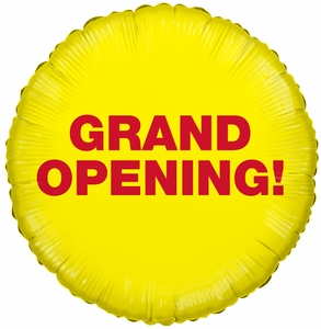 Grand Opening! Mylar Circle Balloon - Yellow with Red Letters