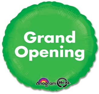 Grand Opening Mylar Balloon - Green and White