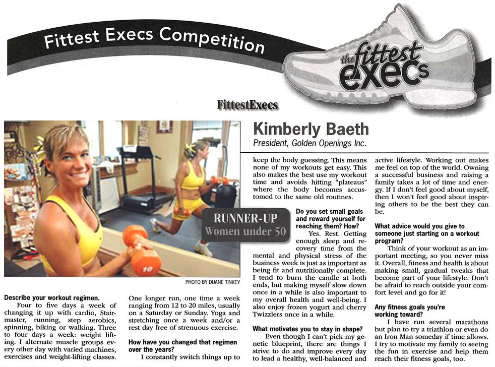 Kimberly Baeth joined the Fittest Execs Competition and took time to answer questions about her workout