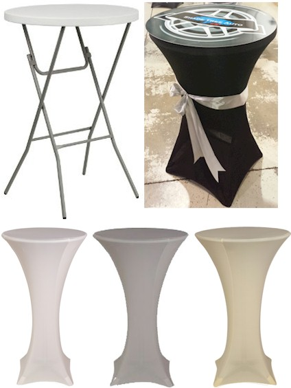 Spandex 32 round high cocktail table covers golden openings for Cocktail tables for rent quezon city