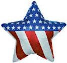 Patriotic Mylar Balloon - RWB Star