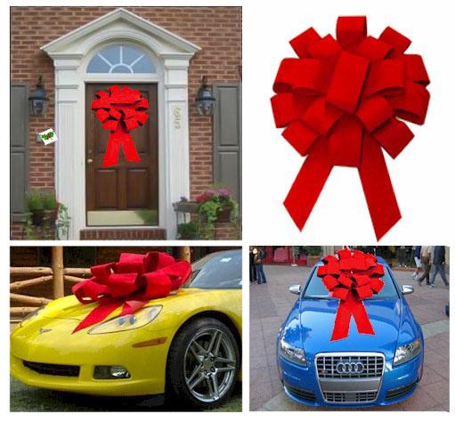 Supersized Circular 3 D Red Velvet Car Or Building Bow Golden