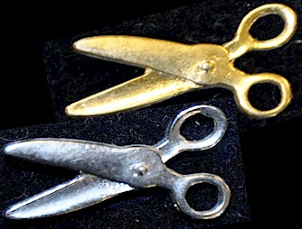 Cutting Scissors Gold or Silver Lapel Pin