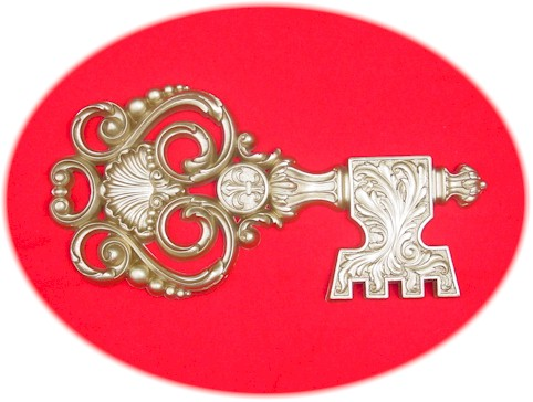 Gold Medallion Crest Key